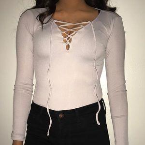Light grey lace up bodysuit